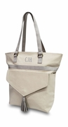 Trendy Canvas Tote with Tassel | Personalized | Gray or Blush
