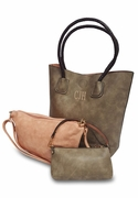 Vegan Leather 3 Piece Tote Bag Set