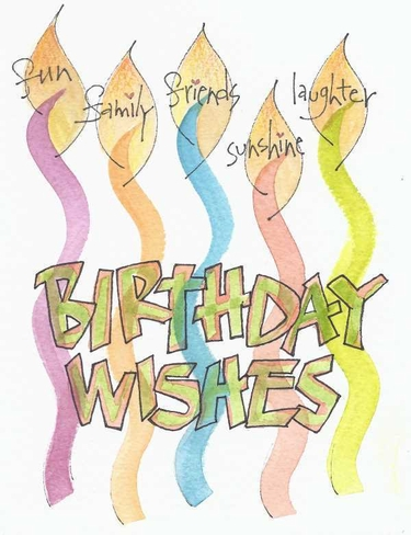 Birthday Wishes Greeting Card, message inside