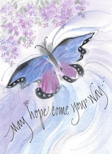 Hope Butterfly Greeting Card, blank inside
