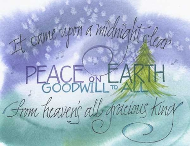 Midnight Clear Christmas Greeting Card, with message
