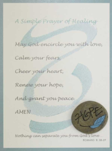 Aqua Cancer Prayer Card with hand painted Lake Superior stone