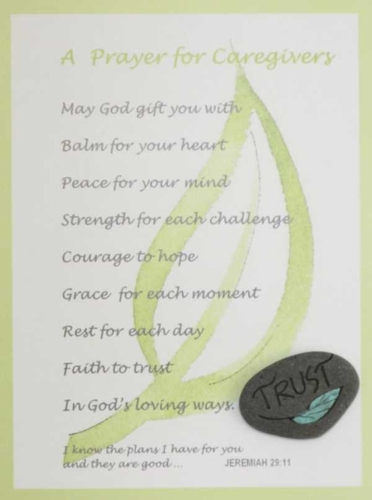 Green Cancer Caregiver's Prayer Card with hand painted Lake Superior stone