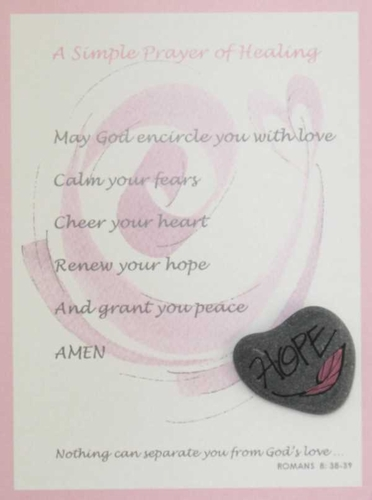 Pink Cancer Prayer Card with hand painted Lake Superior stone