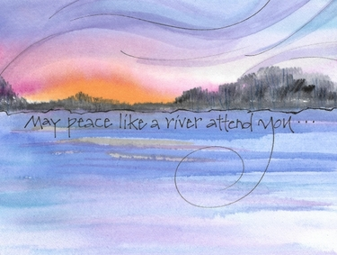 River's Peace Greeting Card, with message