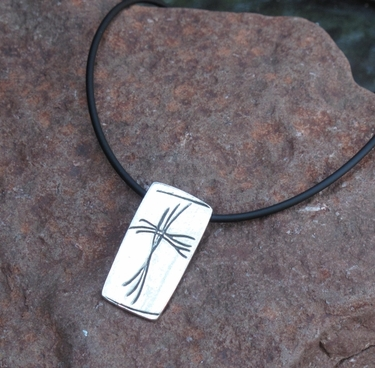 Twig Cross Pewter Necklace