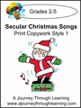 Secular Christmas Songs Copywork Print Style 1 $2.50