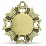 1-7/8 INCH STARBURST MEDAL ANTIQUE GOLD FINISH