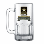 1 LITER U.S. ARMY GLASS STEIN WITH BANNER FOR PERSONALIZATION NAME AND RANK