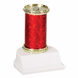 10 STAR SPARKLE COLUMN TROPHY RED & GOLD SYNTHETIC WHITE BASE