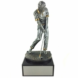 10-1/2 INCH ANTIQUE SILVER MALE GOLFER TROPHY ON BLACK MARBLE BASE