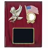 10-1/2 X 13 INCH EAGLE WITH AMERICAN FLAG PLAQUE ON PIANO FINISH CHERRY BOARD