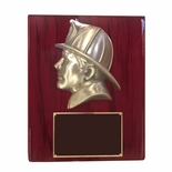 10-1/2 X 13 INCH LARGE FIREMAN'S HEAD ON PIANO FINISHED PLAQUE
