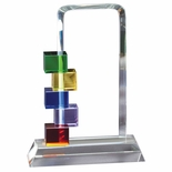 10-1/2 INCHMULTI-COLOR GLASS STACKED BLOCKS AWARD