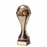 10-1/4 SOCCER BALL SCULPTED HEAVY WEIGHTED PLASTIC TROPHY ANTIQUE GOLD