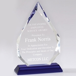 10-1/4 X 6-1/2 INCH ARROWHEAD OPTICAL CRYSTAL AWARD WITH BLUE BASE.