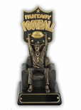 10 INCH FANTASY FOOTBALL GOLD & BRONZE FINSHED MAN ON ARM CHAIR TROPHY