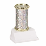 10 STAR SPARKLE COLUMN TROPHY SILVER & GOLD SYNTHETIC WHITE BASE