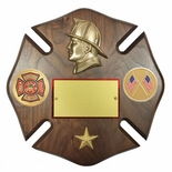 10 X 10 INCH FIREMAN MALTESE CROSS GENUINE WALNUT PLAQUE