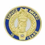 10 YEARS OF SERVICE AWARD PIN WITH SWAROVSKI CRYSTAL
