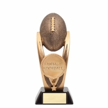11-1/2 INCH FANTASY FOOTBALL TROPHY ANTIQUE GOLD RESIN FINISH ON BLACK BASE