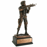 11-1/2 INCH ARMY SOLDIER TROPHY, ELECTROPLATED IN BRONZE