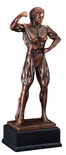11 INCH FEMALE BODY BUILDER ANTIQUE BRONZE ELECTROPLATED TROPHY