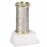11 STAR SPARKLE COLUMN TROPHY SILVER & GOLD SYNTHETIC WHITE BASE