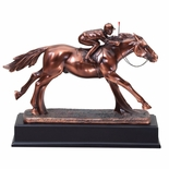 12-1/2 ANTIQUE BRONZE FINISH JOCKEY TROPHY ON BLACK WOOD BASE