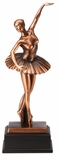 12-3/4 INCH ANTIQUE BRONZE ELECTROPLATED FEMALE BALLERINA TROPHY ON BLACK WOOD BASE