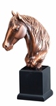 12 INCH ANTIQUE BRONZE ELECTROPLATED HORSE HEAD TROPHY ON BLACK WOOD BASE