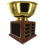 12 INCH DIAMETER GOLD BOWL PERPETUAL TROPHY COMES WITH 24 NAME PLATES