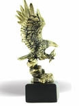 12 INCH ELECTROPLATED ANTIQUE BRASS ATTACKING EAGLE TROPHY