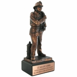 12 INCH FIREFIGHTER TROPHY, ELECTROPLATED IN BRONZE