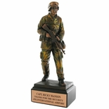 12 INCH SOLDIER TROPHY, ELECTROPLATED IN BRONZE