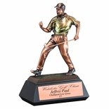 12 MALE GOLF TROPHY ELECTROPLATED IN BRONZE MULTI-COLOR ON BLACK BASE