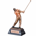 12 MALE GOLFER TROPHY FOLLOW THROUGH SWING ELECTROPLATED BRONZE