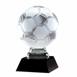 12 INCH OPTICAL CRYSTAL SOCCER BALL TROPHY ON BLACK CRYSTAL BASE