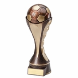 12 SOCCER BALL SCULPTED HEAVY WEIGHTED PLASTIC TROPHY ANTIQUE GOLD