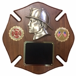12 X 12 INCH FIREMAN MALTESE CROSS WALNUT VENEER PLAQUE