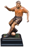 13-1/2 INCH ANTIQUE BRONZE ELECTROPLATED MALE SOCCER TROPHY ON BLACK WOOD BASE