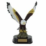 13 INCH HAND PAINTED AMERICAN EAGLE TROPHY ON ROSEWOOD BASE