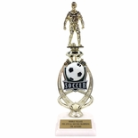 13 INCH MALE SOCCER TROPHY RISER WITH FIGURE ON MARBLE BASE