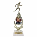13 INCH MALE TRACK TROPHY RISER WITH FIGURE ON MARBLE BASE