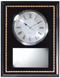 13 x 10 INCH BLACK PIANO FINISH CLOCK PLAQUE WITH SILVER PLATE