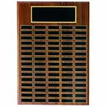 13 X 20 INCH MULTIPLE PLATE WALNUT VENEER PLAQUE WITH 48 BLACK SCREENED PLATES