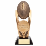 14 INCH FANTASY FOOTBALL TROPHY ANTIQUE GOLD RESIN FINISH ON BLACK BASE