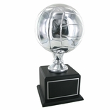 15-1/2 INCH SILVER VOLLEYBALL TROPHY WITH 8 INCH DIAMETER BALL ON BLACK BASE