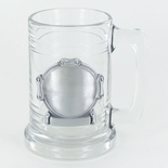 15 OUNCE GLASS TANKARD WITH PEWTER CASTING
