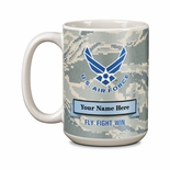 15 OUNCE U.S. AIR FORCE NAME & RANK PERSONALIZATION WHITE CERAMIC MUG